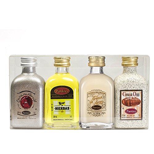 Estuche de 4 botellas en miniatura de 5 cl. de capacidad cada una de distintos licores de orujo: LICOR DE HIERBAS Licor obtenido a partir de aguardiente de orujo, macerado durante tres meses con 33 clases diferentes de hierbas (manzanilla, palulu, hi...