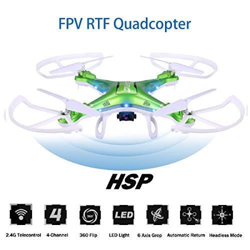 koiiko FPV RTF Quadcopter Drone mit HD Kamera, JJRC H5P 2,4GHz 4-Kanal Wireless RC Drone Kopflose UFO 6-Achsen Gyro Hubschrauber, Brilliant LED Licht für Night Flying-Grün (Gyro 4 Hubschrauber Kanal)