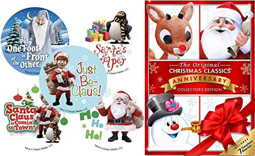 Sticker Christmas 7 Original Holiday Classics Frosty Snowman & Returns / Rudolph Red Nosed Reindeer / Cricket / Little Drummer Boy / Santa Claus Coming to Town Animated Collection Mr. Magoo's Carol Red Cricket