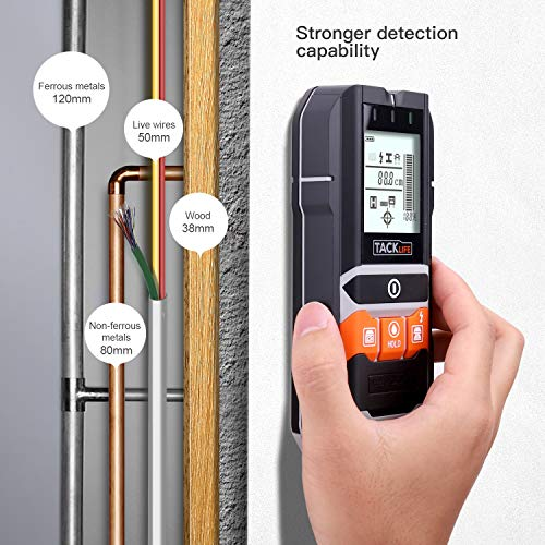 This stud finder has excellent functionality and versatility that will allow you to find metal, wood stud, and live AC wire behind drywall. It has different modes with others such as 'Moisture' intended for detecting moisture content in wood. Its large LCD screen clearly displays detection information and it's easy to read no matter the angle you are viewing from.