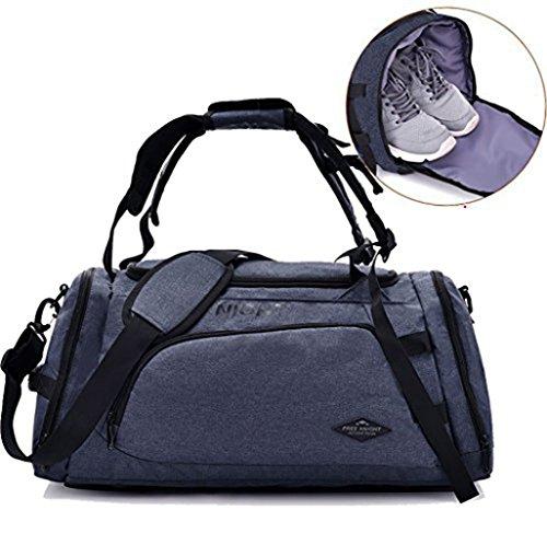 wewo Reisetasche Groß Herren Canvas Faltbare Sporttasche Damen Vintage Handtasche Multipurpose Weekender Tasche Handgepäck Fitnesstasche Wasserdicht (Grau)