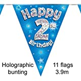 Happy 2nd Birthday Blue Holographic Foil Party Bunting 3.9m Long 11 Flags
