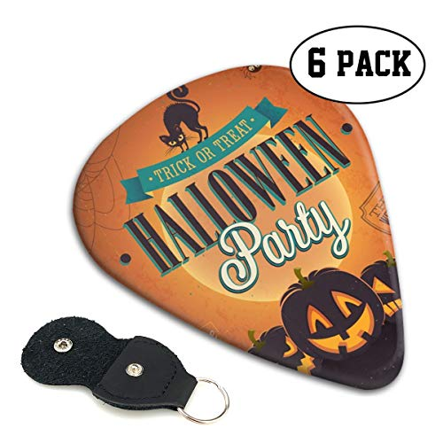 Cavdwa Moonlight Cat Spooky Black Kitten Halloween Pumpkin House Customized 6-Piece Guitar Picks 0.96 Mm, 0.71 Mm,&0.46 Mm Fashion for Electric Guitar, Acoustic Guitar, Mandolin, and Bass