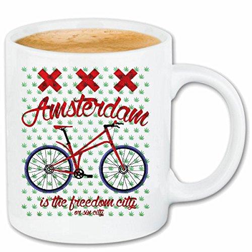 Reifen-Markt Tasse à café Amsterdam VÉLO DE Montagne Velo DE Montagne DE Bicyclette Reparation Cyclisme Sport Bike Tour Velo Shirt Céramique 330 ML en Blanc