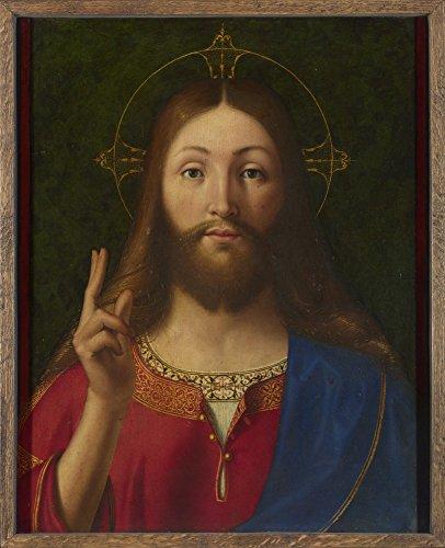 Das Museum Outlet-Andrea Previtali-Christus Segen, gespannte Leinwand Galerie verpackt. 29,7x 41,9cm -