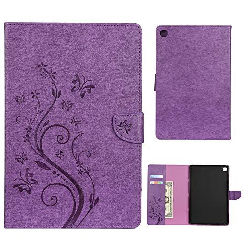Dedux Hülle Samsung Galaxy Tab S5e 10.5 T720/T725 [Geprägte Relief Serien Retro geprägte Schmetterlings Blume Schutzhülle,Einschubfächer für Karten,Magnetische Verschluss.lila T720 Serie