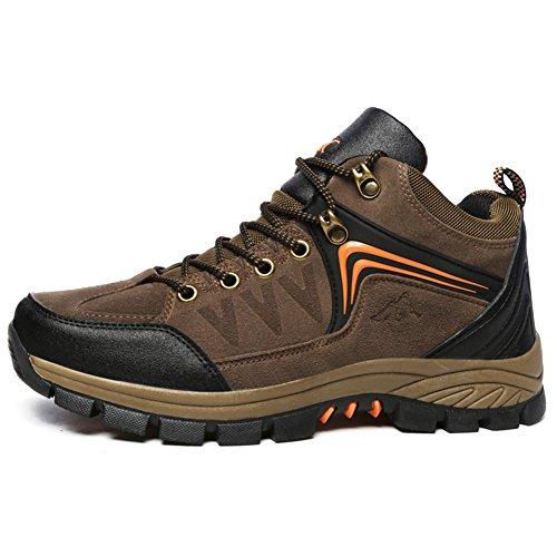 Fexkean Scarpe Stivali da Trekking Hiking Uomo Scarpe da Escursionismo Corsa in pelle Impermeabili Sportive All'aperto Sneakers Verde Blue Marrone 39-47 Marrone