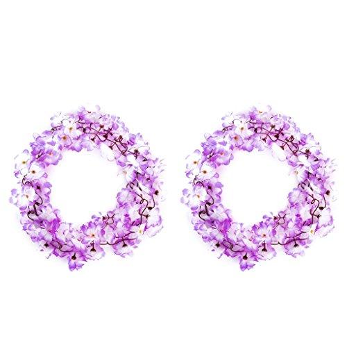 SODIAL(R) 2x Kuenstliche Azalee Girlande Blume Rebe Hochzeits Garten Dekoration lila