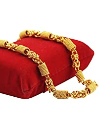Fashion And More Jewel Home Gold Plated Alloy Temple, Ethnic Curb Chain for Boys, Men