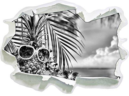 Stil.Zeit Monocrome, Ananas Urlaubsfeeling mit Sonnenbrille Papier im 3D-Look, Wand- oder Türaufkleber Format: 62x45cm, Wandsticker, Wandtattoo, Wanddekoration