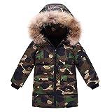 OCHENTA Doudoune Garçon Manteau Rembourré Camouflage Enfant avec Capuche Fourrure Automne Hiver Vert Armé Etiquette 110cm