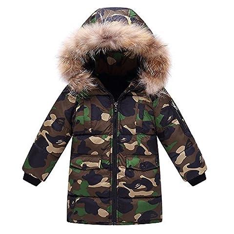 OCHENTA Doudoune Garçon Manteau Rembourré Camouflage Enfant avec Capuche Fourrure Automne Hiver Vert Armé Etiquette 130cm
