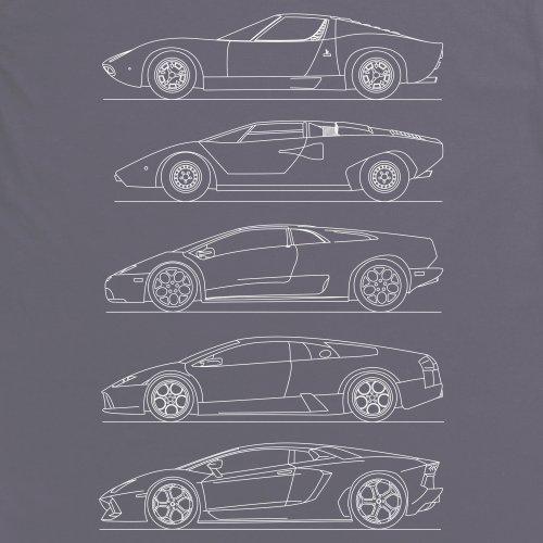 Bull V12 Car Generations T-Shirt, Herren Anthrazit