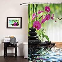 Poseca Rideau de Douche, 3D Motif Rideau pour Salle de Bain en Polyester 180 x 180 cm avec 12 Anneaux de Rideaux, Rideau Anti-Moisissure, Imperméable, Antibactérien - Phalaenopsis
