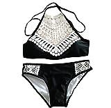 Damen Neckholder Push Up Badeanzug Summer Bademode Schwimmanzug Bikini Set mit Spitze S Schwarz