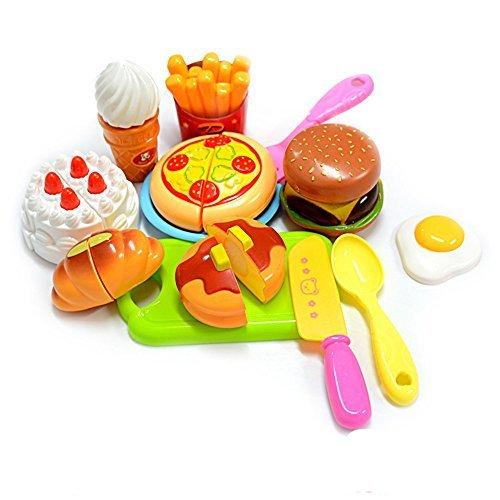 KUNEN 13 Stücke Kinder Küchenspielzeug, Schneiden Spielzeug Lebensmittel Küche Rollenspiele pädagogisches Spielzeug Geburtstagsgeschenk Kinder, Schneiden von Obst, Gemüse, Pizza