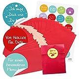 24 kleine rote Papiertüten Geschenktüten Geschenk-Verpackung (9,5 x 14 cm) und 24 runde Aufkleber Sticker Liebe Sprüche Freundschaft Verpackung Geschenk give-away
