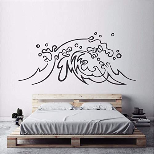 (KUANGJING Wohnzimmer Wand Stickernautical Design Wandaufkleber Welle Vinyl Wand Applique Surf Artist Schlafzimmer Dekoration Strand Thema Welle Wandmalerei Ay1494 93X42Cm)