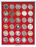 Lindner 2226 Münzenbox mit 30 runden Vertiefungen für Münzenkapseln mit Außen-Ø 39 mm-Grau / rote Einlage
