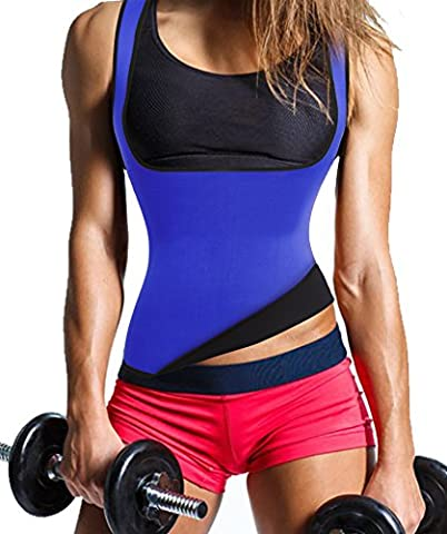 Women's Hot Sweat Slimming Neoprene Plus Size Vest Body Shapers for Fat burner (Large, Blue)