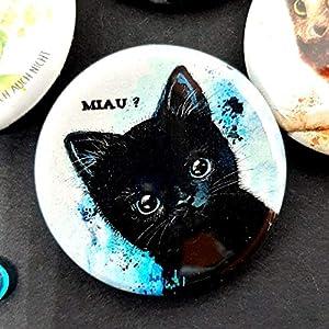 """Katzenbutton Miau – Aquarell schwarze Katze""""Tiny black kitty"""" Button – Anstecker – Pin"""