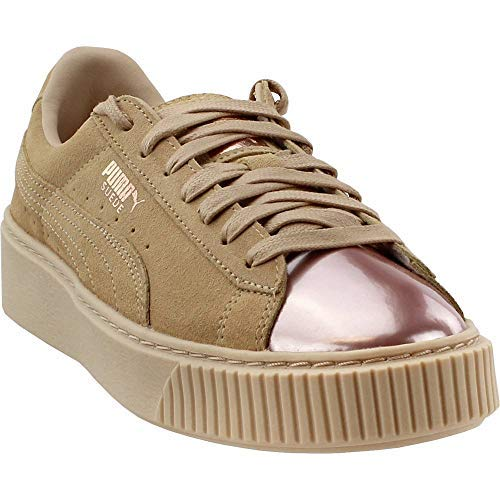 PUMA Womens Suede Platform Rose Gold Low-Top Athleisure Fashion Sneakers