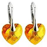 Ohrringe mit Kristallen von Swarovski in geprüfter Qualität m3crystal Ohrringe Silber 925 Stein Astral Pink (API) Herz 14mm Ohrringe Nickelfrei Damen, Schmuck für Damen Modeschmuck