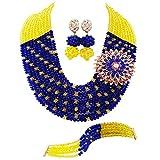 Laanc Mode parures de bijoux-Unisexe 10rangs Royal Bleu et jaune Cristal du Nigeria Mariage africain Perles Ensemble de bijoux A00081