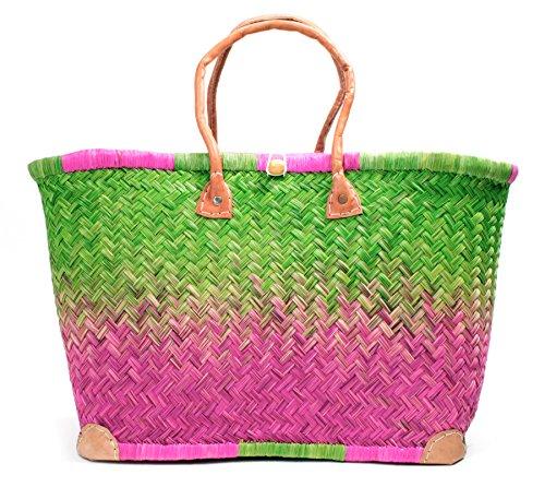 Madagaskar Korbtasche Strandtasche XXL Ibiza Basttasche Damen Lederhenkel (Large) (Raphia Madagaskar)