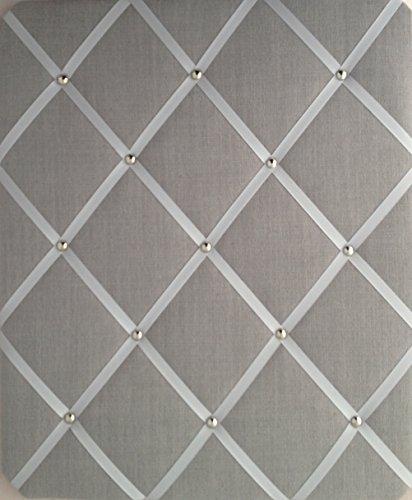 Pinnwand, groß, 40x 48cm, Leinen, mit verchromten Nieten, Grau