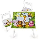 Table et 2 chaises enfant motif Jungle animaux Chambre enfant Meuble enfant Mobilier Chaise d'enfant Baby