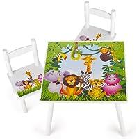 Preisvergleich für Leomark Weiß Tisch und Stühle für Kinder, 1 Tisch und 2 Stühle Motiv: Dschungel Tiere, Kindertisch Kindersitzgruppe Sitzgruppe für Kinder Kinderstuh