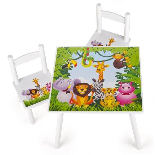 Leomark Weiß Tisch und Stühle für Kinder, 1 Tisch und 2 Stühle Motiv: Dschungel Tiere, Kindertisch Kindersitzgruppe Sitzgruppe für Kinder Kinderstuh -