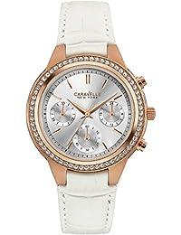 Caravelle New York 44L214 - Reloj de pulsera Mujer, Cuero, color Blanco roto