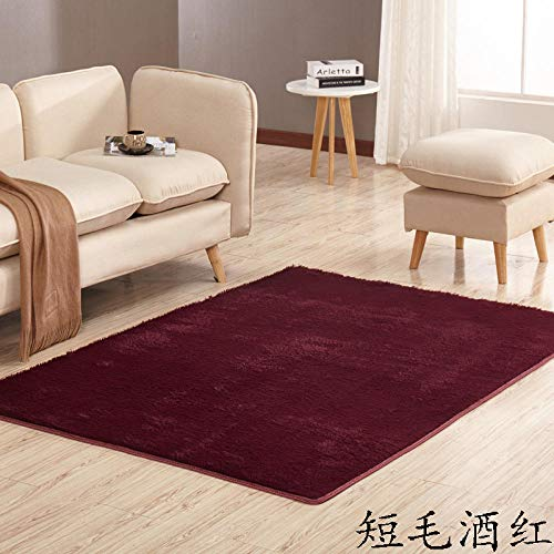 Teppich Fußmatte Thickened Washed Silk Hair Short Hair Carpet Living Room Coffee Table Bedroom Bedside Yoga mat, Short Hair Wine red_100*160CM