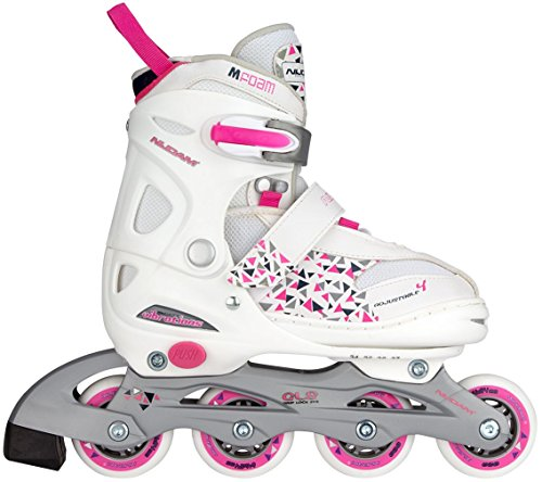 Nijdam Junior Kinder Semi-Softboot Inlineskates Junior Verstellbar, Weiß/Fuchsia/Purpur, 27-30