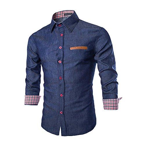 West See Herren Männer Freizeit Hemd Langarm Shirts Slim Fit Business Bügelleicht (DE L, Dunkelblau)
