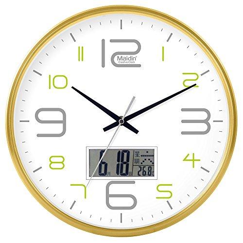 DIDADI Wall Clock Schautafel Schlafzimmer Wohnzimmer Hörraum Wanduhr Herr Ding hinter dem Kalender Uhr - Ching-stein Batterie Uhren runden-Jong-Mann, 10-Zoll-LCD, 543 Gold Edition
