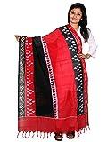 Black Pochampally Or Ikat Cotton Handloom Dupatta