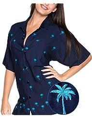 La Leela rayonne léger dames manches courtes 4 en 1 aloha hawaii thème partie vintage salon beachwear vacances boho blouse hawaïennes femmes shirt brodé tunique bleu foncé