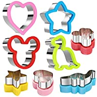 WARRENT Stainless Steel Sandwiches Cutter Set, Mickey Mouse & Dinosaur & Heart & Star Shapes Sandwiches Cutter Cookie Cutter -Food Grade Cookie Cutter Mold for Kids (Big+Medium, 8pack)
