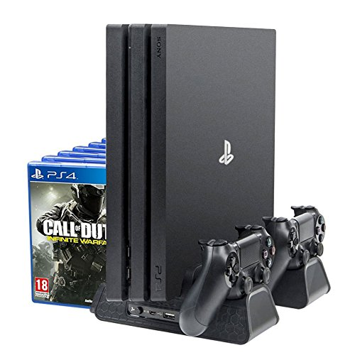 4-in-1 Vertikale Lade- und Display-Ständer für PS4 / Pro/Slim - ElecGear 12PC Games Disc Storage DVD-Halterung, Dual Charger Station für DualShock 4 Controller, Kühler für Playstation (Sony 400 Disc)