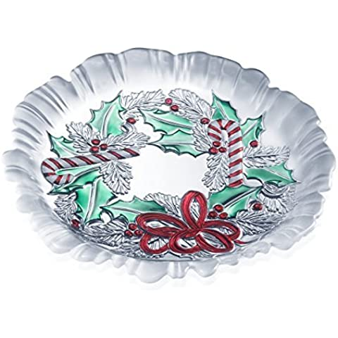 Celebrations by Mikasa Festive Wreath Crystal Candy Dish, 8.75-Inch by Mikasa