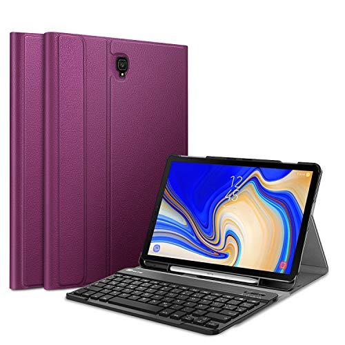 Fintie Tastatur Hülle für Samsung Galaxy Tab S4 T830 / T835 (10.5 Zoll) 2018 Tablet-PC - Ultradünn Schutzhülle mit magnetisch Abnehmbarer drahtloser Deutscher Bluetooth Tastatur, Lila
