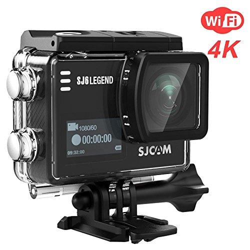 4K 16MP Action Kamera SJCAM SJ6 Legend WIFI mit 2.0 HD Touchscreen 0.9 Front LCD Screen 170 ° Weitwinkel Gyro Stabilisierung Externes Mikrofon Fernbedienung Wasserdichte Unterwasser (Schwarz)