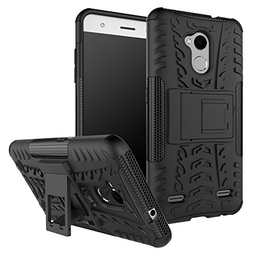ZTE Blade V6 plus / V7 Lite / A2 Hülle, Heavy Duty Silikon Euti Fall Handyhülle 2 in 1 Hybrid Combo Dual Layer Shockproof Case Cover Tasche mit Kickstand für ZTE Blade V6 plus / V7 Lite / A2 (Schwarz)
