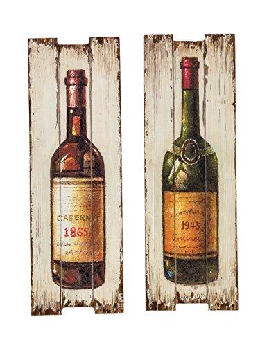 2x Bild Wandtafel Tafel Rotwein Wein Weinflasche Weisswein Wandbild antik Stil