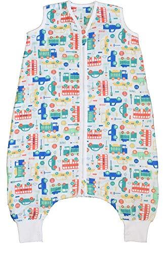 Schlummersack Bambus-Musselin Babyschlafsack mit Füßen 0.5 Tog -Autos - Jungen - 6-12 Monate/70 cm