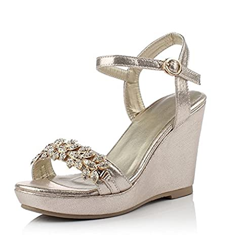Adee Mesdames strass High-Heels polyuréthane Sandales - Or - doré, 37 1/3
