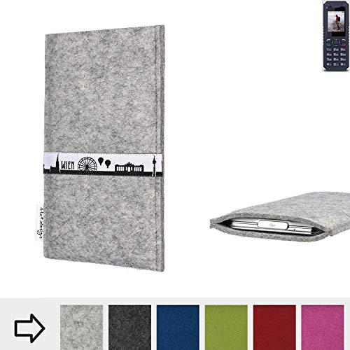 flat.design für bea-fon AL250 Schutz Tasche Handyhülle Skyline mit Webband Wien - Maßanfertigung der Schutz Hülle Handytasche aus 100% Wollfilz (hellgrau) für bea-fon AL250